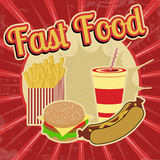 Fast Food vintage poster Royalty Free Stock Image