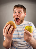 Fast food VS healthy food Stock Photography