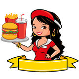 Fast food waitress woman holding a tray with burger, fries and drink and blank banner. Stock Photos