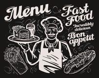 Fast food wektorowy szablonu chalkboard menu dla restauraci, kawiarni i knajpy, gość restauracji, bistro ilustracja wektor