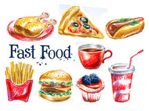Fast food on a white background Stock Images