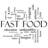 Fast Food Word Cloud Concept in Black and white. With great terms such as unhealthy, fat, grease, hamburger, meal and more stock illustration