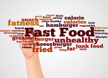 Fast Food word cloud and hand with marker concept. On white background stock illustration
