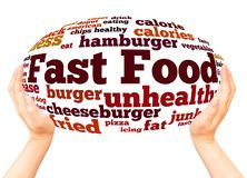 Fast Food word cloud hand sphere concept. On white background stock photography