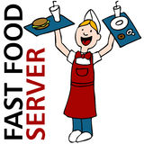 Fast Food Worker. An image of a fast food server worker holding trays of food royalty free illustration