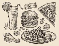 Fast food wręcza patroszoną pizzę, hamburger, dłoniaki, hamburger, piec na grillu kurczak, bryłki, świeży sok Nakreślenie wektoru Fotografia Royalty Free