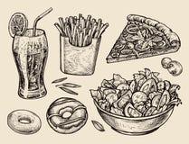 Fast food wręcza patroszoną sodę, lemoniada, dłoniaki, plasterek pizza, sałatka, deser, pączek Nakreślenie wektoru ilustracja Zdjęcia Royalty Free