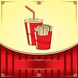 Fast food z kolą i dłoniakami Ilustracja Wektor