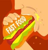 Fast food zależność, zły przyzwyczajenie i nałóg nowożytna społeczeństwo wektoru ilustracja, royalty ilustracja