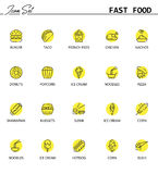 Fast foodline icon set Royalty Free Stock Images