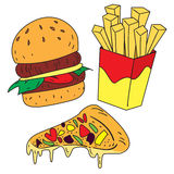 Fast Foods Doodle royalty free illustration