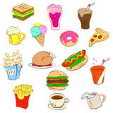 Fast foods icon set Royalty Free Stock Photography