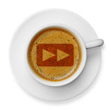 Fast forward symbol on coffee Royalty Free Stock Image