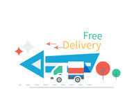 Fast Free Delivery Concept Icon Flat Design Royalty Free Stock Photo
