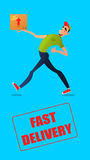 Fast free delivery. Courier runs with box on the order. Colorful characters in a flat style Royalty Free Stock Photography