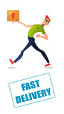 Fast free delivery. Courier runs with box on the order. Colorful characters in a flat style Royalty Free Stock Photo