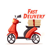 Fast and free delivery. Vector cartoon illustration. Royalty Free Stock Image