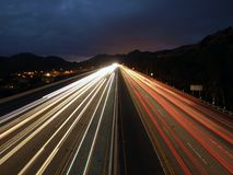 Fast Freeway. Fast evening traffic on a ten lane California Freeway Royalty Free Stock Photo
