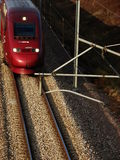 Fast french tgv Train on closeview. French tgv train on a close view on a side sunset light Stock Photography