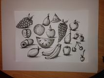 Fast fruit sketches Royalty Free Stock Photo