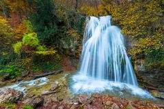 Fast full-flowing waterfall Jur-Jur in the mountains of Crimea, a picturesque natural landmark in the fall. Russia stock photos