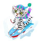 Fast fun Tiger. Illustration of white tiger  having fun in a snow cart Stock Photo