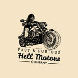 Fast And Furious advertising poster. Vector hand drawn skeleton rider on motorcycle. Vintage eternal biker illustration. Royalty Free Stock Photos