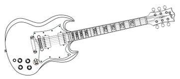 Fast gitarrlinje teckning stock illustrationer
