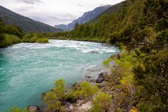 Fast green river.Pure nature at Palena region, Carretera Austral in Chile - Patagonia. Futaleufu, Espolon rivers royalty free stock photo