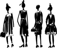 Fast hand-drawn fashion sketch with models vector vector illustration