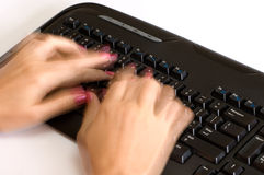 Fast hands over keyboard 2 Stock Photography