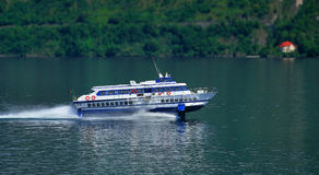 Fast hydrofoil ferry on Lake Como Royalty Free Stock Images