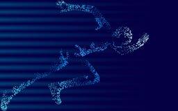Fast impetuous running sportsman. Man run high speed sport achievement. Silhouette sprinter background. Design runner dark blue ve. Fast impetuous running stock illustration