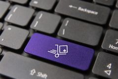 Fast internet delivery concept on laptop keyboard Royalty Free Stock Photo
