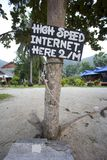 Fast internet sign on beach. High speed internet sign on Haad Yao beach, Ko Pha Ngan, Thailand Stock Photo