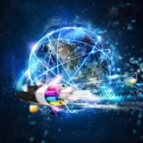 Fast internet worldwide connection with the optical fiber. Internet connection with the optical fiber. Concept of fast internet Royalty Free Stock Photo