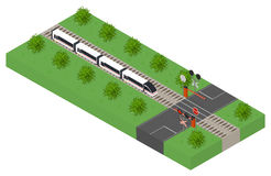 Fast isometric modern train. Public transport. Royalty Free Stock Images