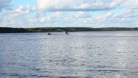 Fast jet ski on lake in summer day stock footage