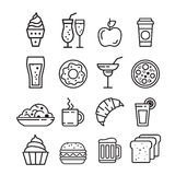 Fast junk food icons set Royalty Free Stock Images