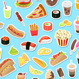 Fast and Junk kinds of Food Scattered on Blue. Background. Vector poster of pizza pieces, round sushi, pop corn, hot dog, ice cream on stick and in cone, drinks Stock Photo