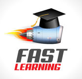 Fast learning concept - turbo jet engine and students cap Royalty Free Stock Photos