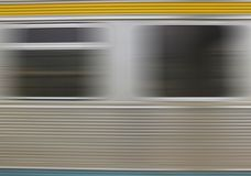 Fast life. Train window close-up, in motion Stock Photo