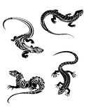 Fast lizards in tribal style Royalty Free Stock Photos