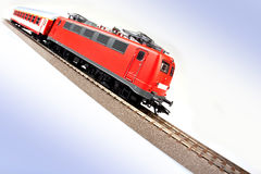 Fast locomotive riding around the world Royalty Free Stock Image