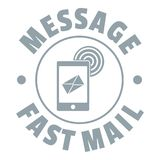 Fast mail logo, simple gray style Stock Image