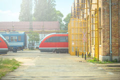 Fast and modern train parking in the garage Royalty Free Stock Photo
