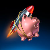 Fast Money. And higher savings account piggy bank with an attached rocket as rising interest rate return in an account and financial success with strong Royalty Free Stock Images