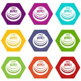 Fast money button icons set 9 vector. Fast money button icons 9 set coloful isolated on white for web Stock Photos