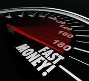 Fast Money Speedometer Earning Income Quick Rich Wealth. Fast Money words on speedometer to illustrate quick action and results in earning riches and wealth in Stock Photo