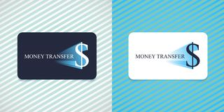 Fast money transfer vector logo, icon. Card with dollar currency sign for global payments and transfers service Royalty Free Stock Image